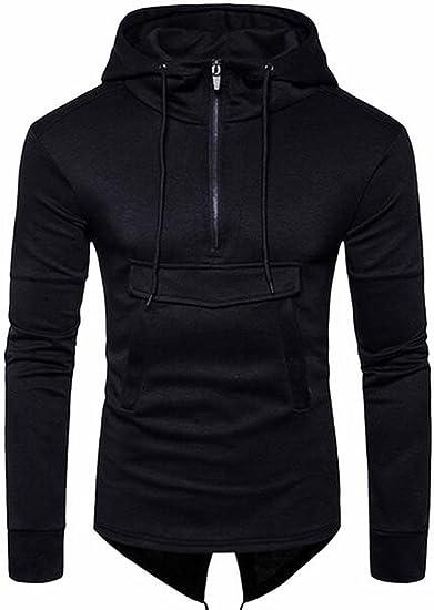shinianlaile Mens Solid Long Sleeve Pullover Hoodies Half Zip Hooded Sweatshirts