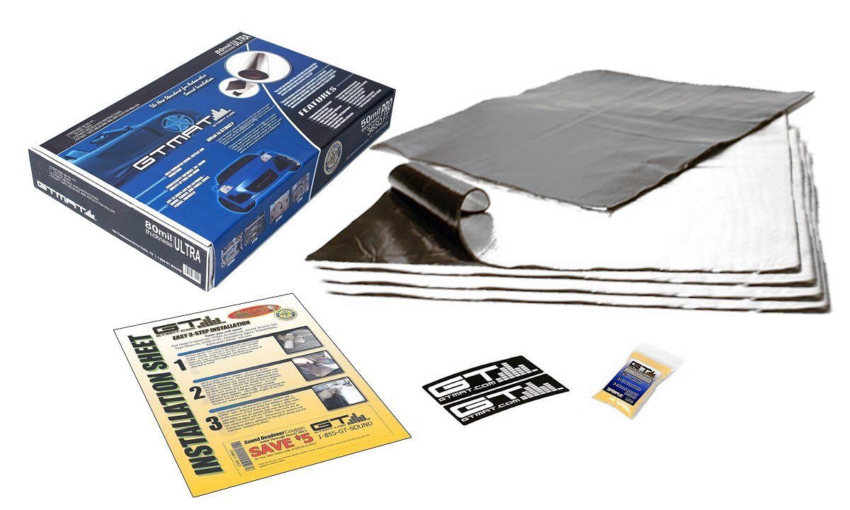 GTMAT 5 sqft Automotive Sound Insulation 80mil ULTRA – Rattle Reduction Installation Kit Includes: 5sqft Sheets (12in X 12in), Instruction Sheet, Degreaser, GT MAT Decals GTSound Control 1361840