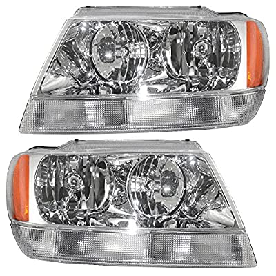 Driver and Passenger Headlights Headlamps Replacement for Jeep SUV 55155553AI 55155552AI