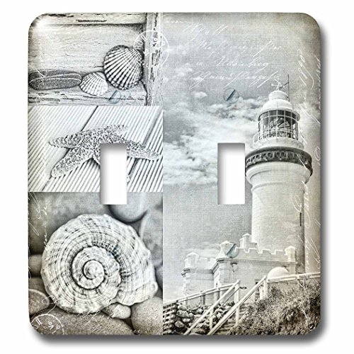 (3dRose Andrea Haase Art Illustration - Mixed Media Collage Of Byron Bay Lighthouse With Sea Shells - Light Switch Covers - double toggle switch (lsp_268398_2))