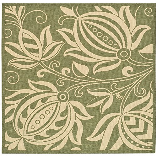 (Safavieh Courtyard Collection CY2961-1E06 Olive and Natural Indoor/ Outdoor Square Area Rug (6'7
