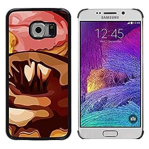 TECHCASE**Cubierta de la caja de protección la piel dura para el ** Samsung Galaxy S6 EDGE SM-G925 ** Random Art Modern Donut Pink Sugar Chocolate