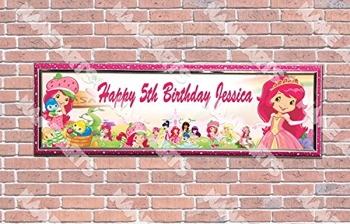 Strawberry Shortcake Birthday Banner - Personalized / Customized Strawberry Shortcakes Name Poster with Frame - Home Wall Decor Birthday Party Door Banner