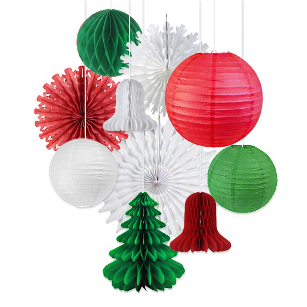 Hanging Paper Lantern Decorations Christmas Party Decor Indoor Kit Red Green White Paper Christmas Tree Bell Decoration - 10pcs Easy Joy