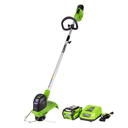 GreenWorks ST40B410 G-MAX 40V 12-Inch Cordless String Trimmer, 4Ah Battery and Charger Included