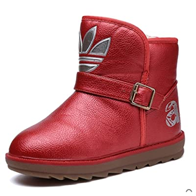 Cattior Little Kid Buckle Warm Fur Boots Kids Shoes (13 M, Red)