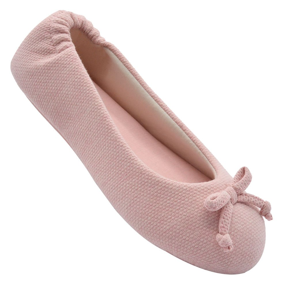 Wishcotton Womens Breathable Ballerina Slipper Closed Toe Slip, Pink, Size 9.0