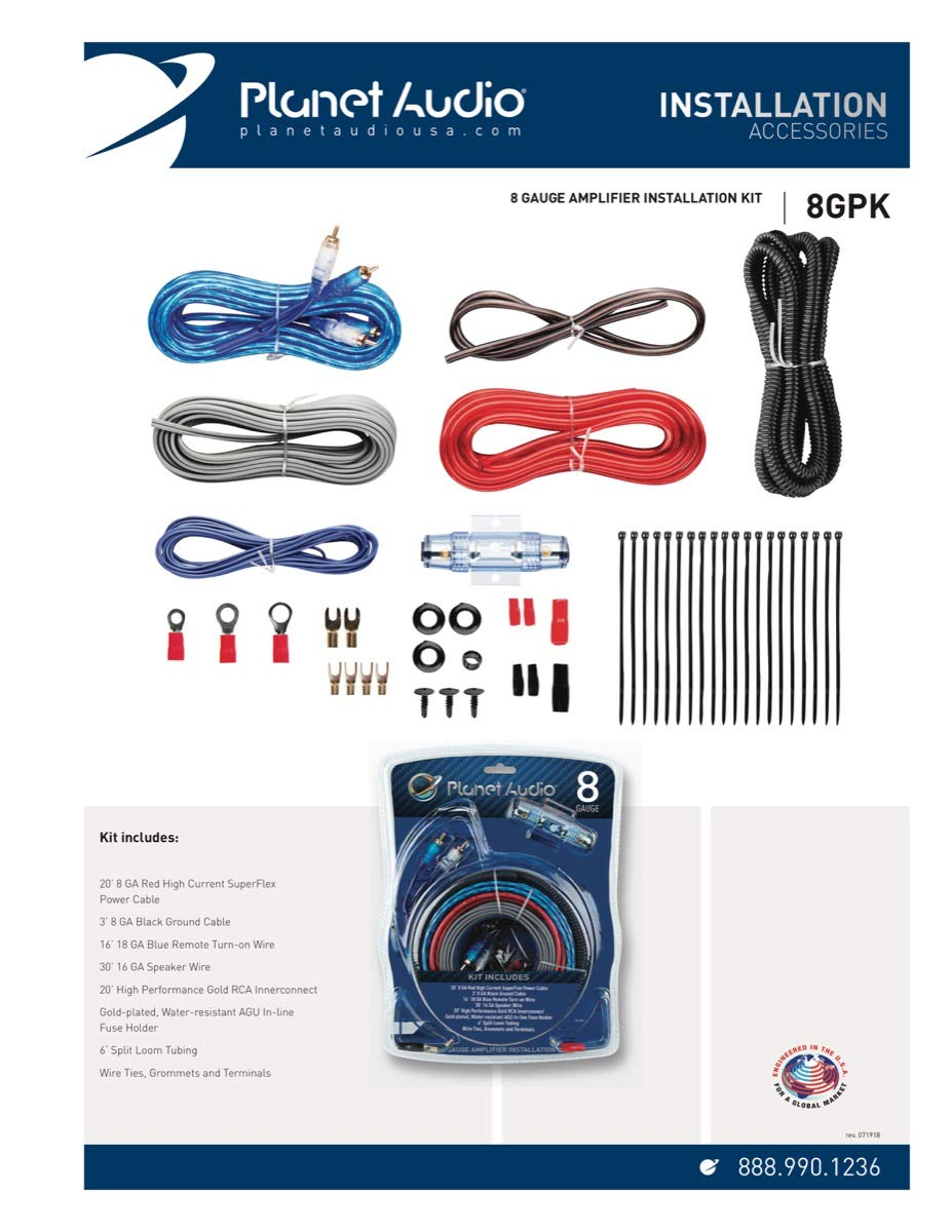 Planet Audio 4gpk 4 Gauge Amplifier Installation Wiring New Power Amp Kit 1200 Watt Install Car Electronics