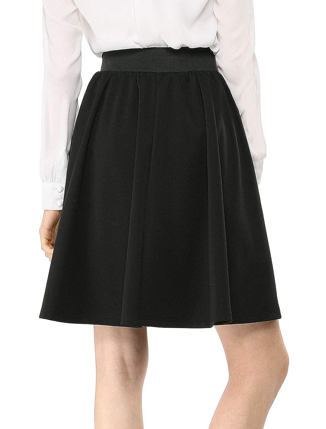 1cbff6eaf Allegra K Women's Casual Basic Above Knee Stretchy A Line Flared Skater  Skirt at Amazon Women's Clothing store:
