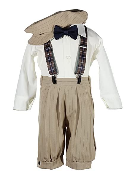 1930s Childrens Fashion: Girls, Boys, Toddler, Baby Costumes Boys Tan Knicker Set with Plaid Suspenders in Baby Toddler & Boys Sizes $43.95 AT vintagedancer.com