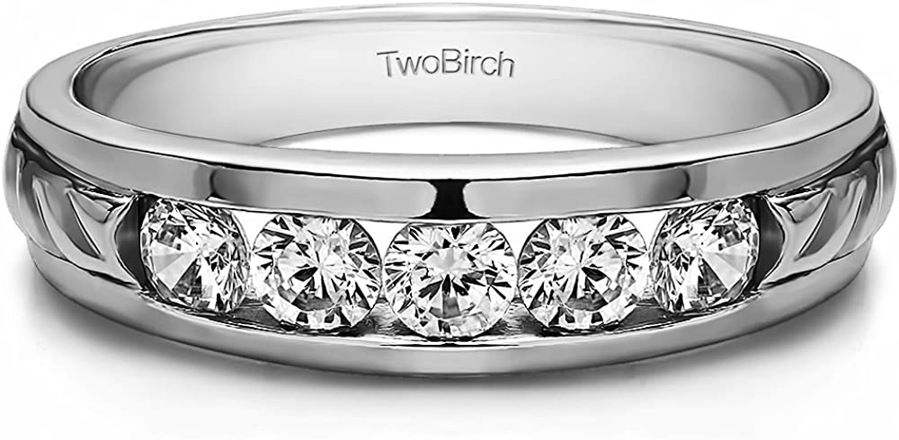 Sterling Silver Mens Wedding Band White Sapphire 0.3Ct Size 3 to 15 in 1//4 Size Intervals