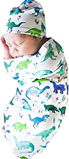 FeiliandaJJ Newborn Infant Baby Swaddle Blanket Sleeping Swaddle Muslin Wrap Headband Set for 0-12 Months (F)