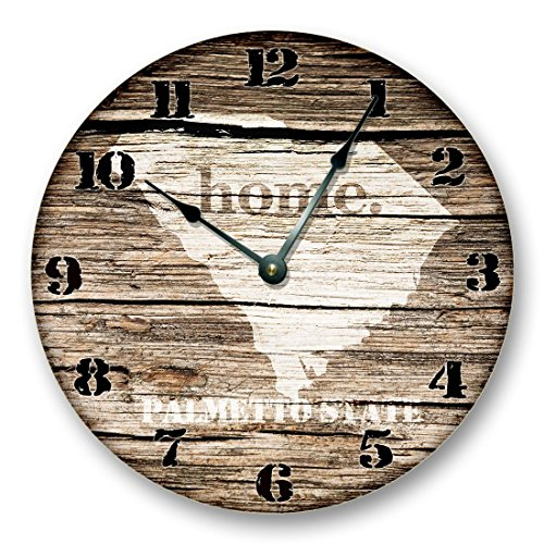 Glass South Carolina Clock (SOUTH CAROLINA State Map Wall Clock old weathered boards rustic cabin country decor)