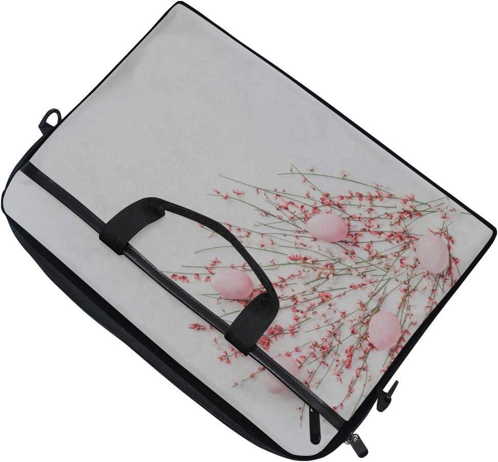 Laptop Bag Easter Eggs Pink Flowers On White 15-15.4 Inch Laptop Case Briefcase Messenger Shoulder Bag for Men Women College Students Business Peop