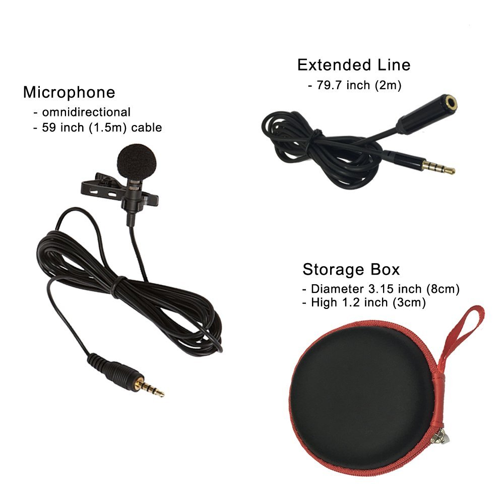 HIBERR Lavalier Lapel Microphone, lapel mic for Youtube Podcasting, Live recording microphone for iPhone Ltd LA-30