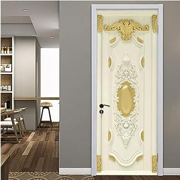 Pegatinas de puerta de madera retro PVC papel pintado impermeable ...