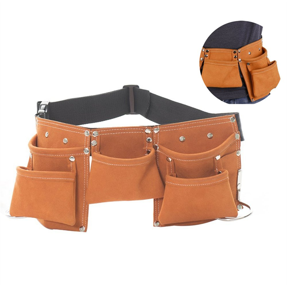 Fellibay Double Tool Belt Nail Tool Pouch Builders Bag Belt Storage Hammer Holder Waist Bag with 5 Pockets for Kids Children (Brown) by Fellibay (Image #1)