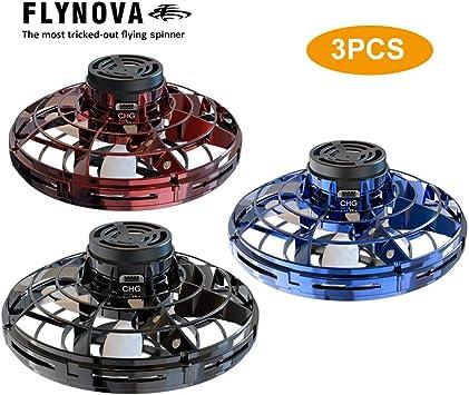 Blue Lasamot Flynova UFO Fingertip Upgrade Flight Gyro Flying Spinner Decompression Toy For Adult and Kids