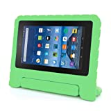 for Amazon Kindle Fire HD 7 2015, Internet Kids Shock Proof EVA Handle Case Cover (Green)