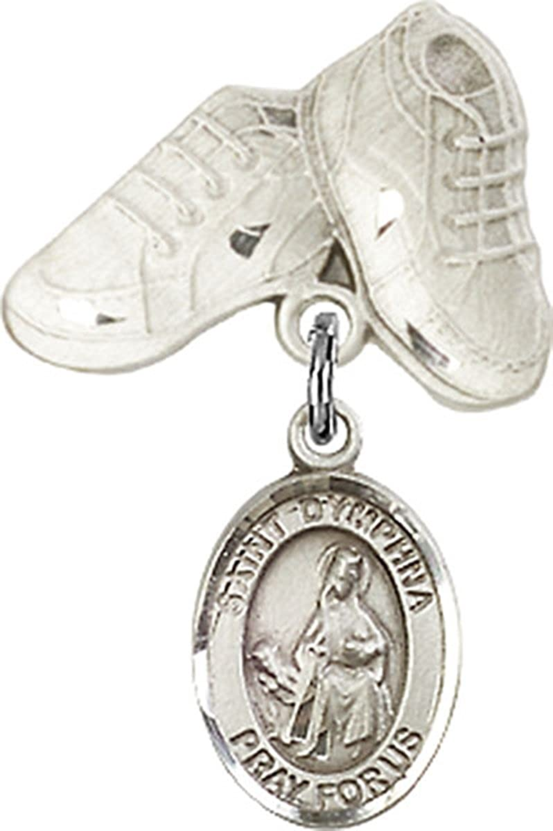 3//4 Inch Sterling Silver Baby Badge Baby Boots Pin with Charm