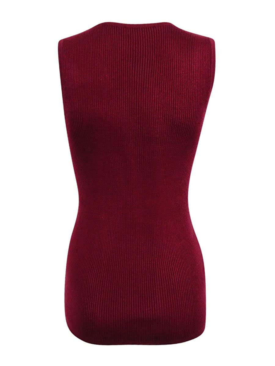 ce3e81bc33 Tommy Hilfiger Womens Ribbed Knit Asymmetric Tank Top Red M at Amazon  Women s Clothing store