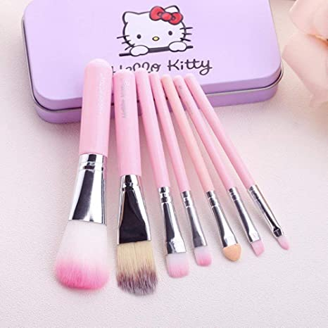 b79365edb TECHICON Hello Kitty Complete Makeup Mini Brush Kit with A Storage Box -  Set of 7 Pieces: Amazon.in: Beauty
