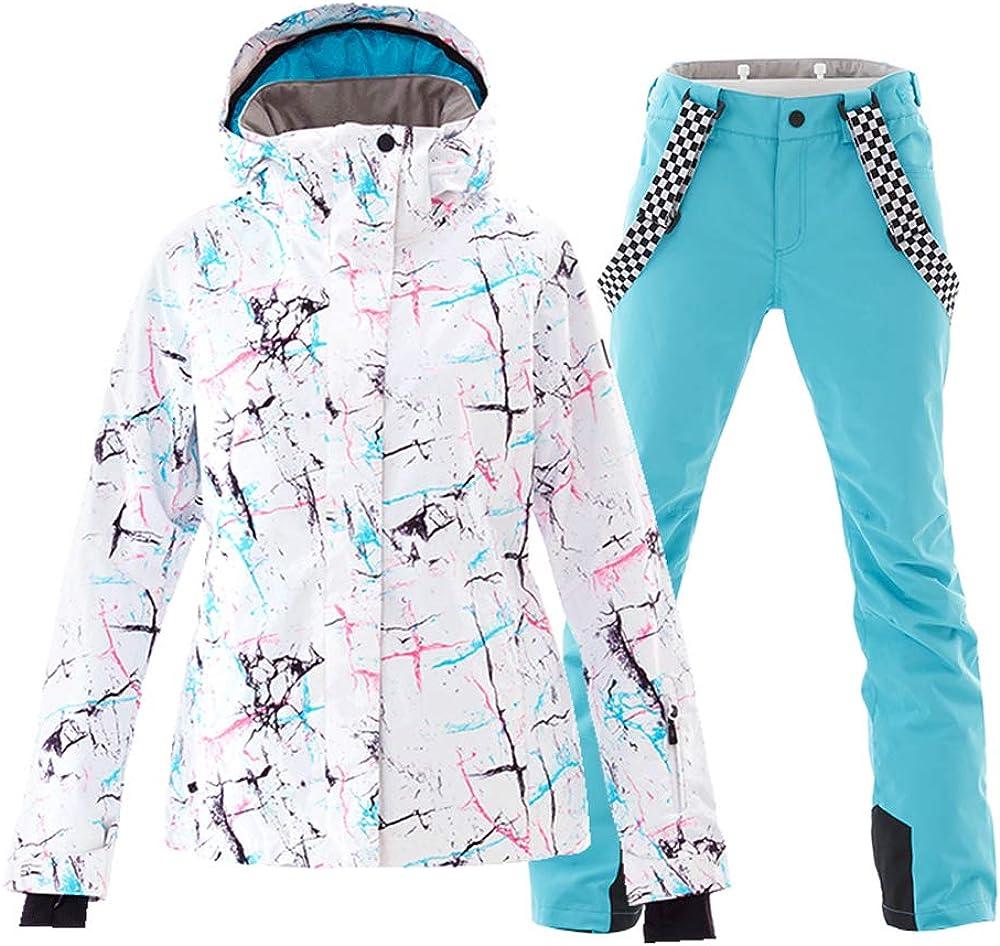 Women's Ski Jackets and Pants Set Windproof Waterproof Snowsuit: Clothing