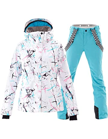 Women s Ski Jackets and Pants Set Windproof Waterproof Snowsuit ddc6ba009