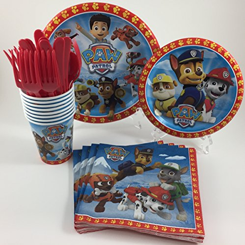 BashBox Paw Patrol Birthday Party Supplies Pack Including Cake & Lunch Plates, Cutlery, Cups & Napkins for 8 (Party City Birthday Party Supplies)