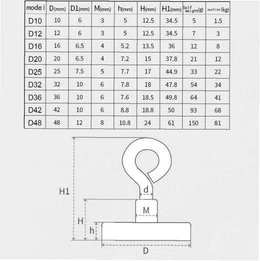 CULER Starke Neodym-Magnet rund 260lbs Ziehen Angeln im Fluss Magnetic Eyebolt D10