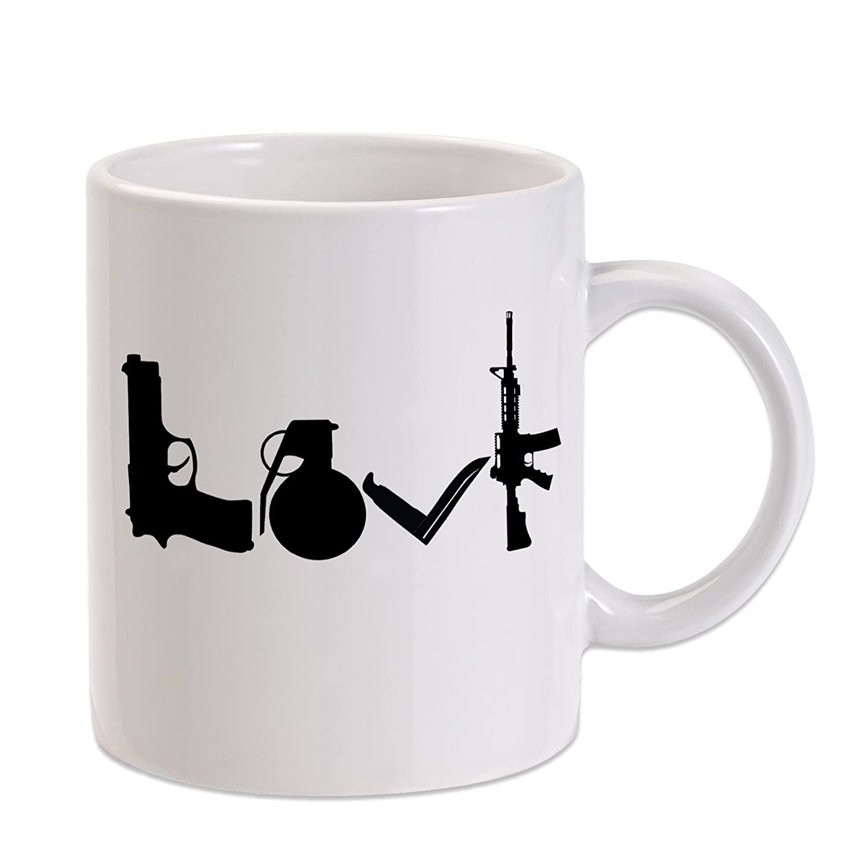 愛、武器、ナイフ、手榴弾、ライフル11オンスノベルティコーヒーマグ   B075KNK3HJ