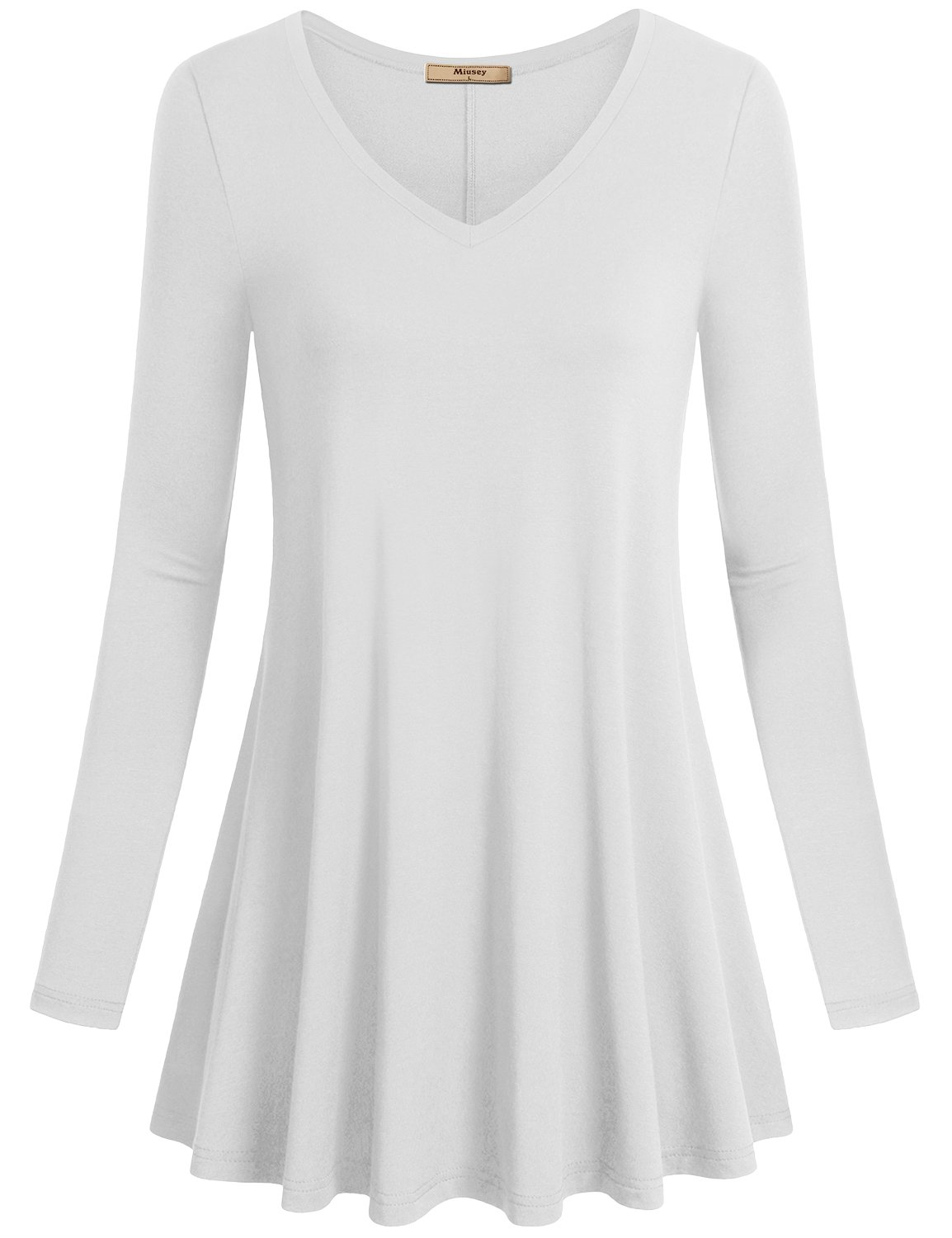 Miusey Loose Tops for Women, Ladies V Neck Long Sleeve Flared Shirt Flowy Leggings Fit Basic Swing Casual Tunic White Medium