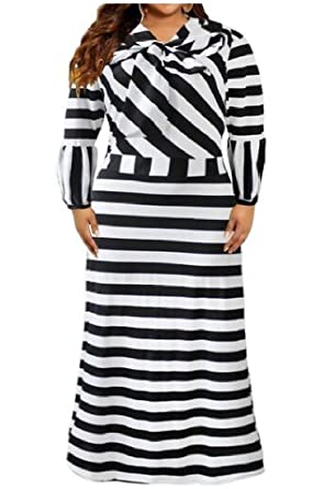 Andopa Women\'s Plus Size Striped Vogue Caftan Digital Print ...