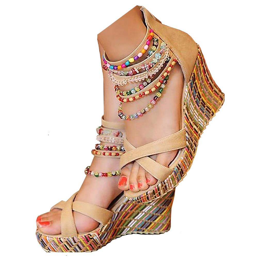 Vintage Sandals | Wedges, Espadrilles – 30s, 40s, 50s, 60s, 70s GETMOREBEAUTY Womens Wedge Sandals with Pearls Across The Top Platform Sandals High Heels $34.98 AT vintagedancer.com