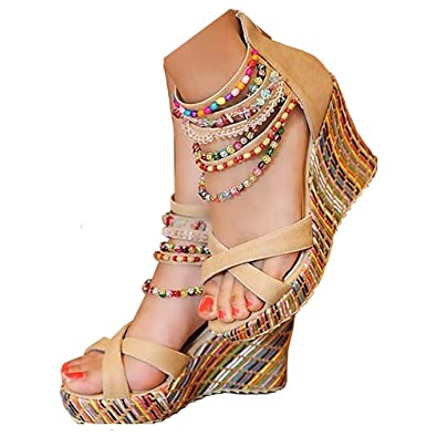 b5592f253430f Amazon.com | getmorebeauty Women's Wedge Sandals with Pearls Across ...