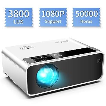 Mini proyector, ELEPHAS Video Proyector 3800 Lux Proyector de Cine en casa portátil LED de Larga duración 1080P Compatible, Compatible con PS4, PC a ...