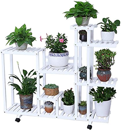 Jgfds Bastidores de Flores Estante de Madera para macetas Soporte Rack Estante de Almacenamiento de jardín con Rueda Interior o Exterior para Sala de Estar Oficina balcón: Amazon.es: Hogar