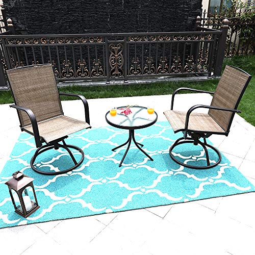 MF STUDIO 3 Piece Swivel Chairs Bistro Stools Sets with All Weather Steel Frame Patio Bistro Sets with 2 Chairs and 1 Table