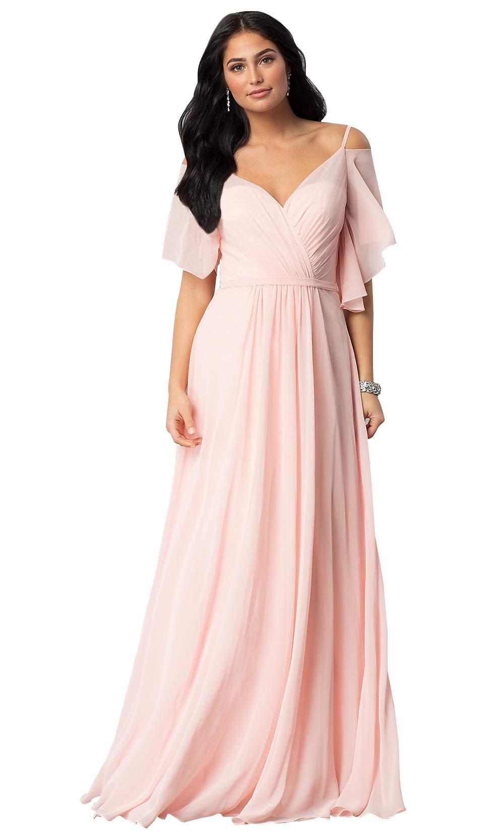 KKarine Flutter Sleeves Spaghetti Strap V Neck Bridesmaid Dress Long  Evening Gown Plus Size (18W Blush Pink)