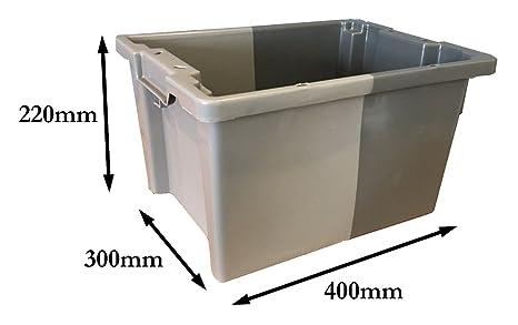 Caja de almacenamiento de plástico de 16 litros, tamaño pequeño, apilable, 180 º