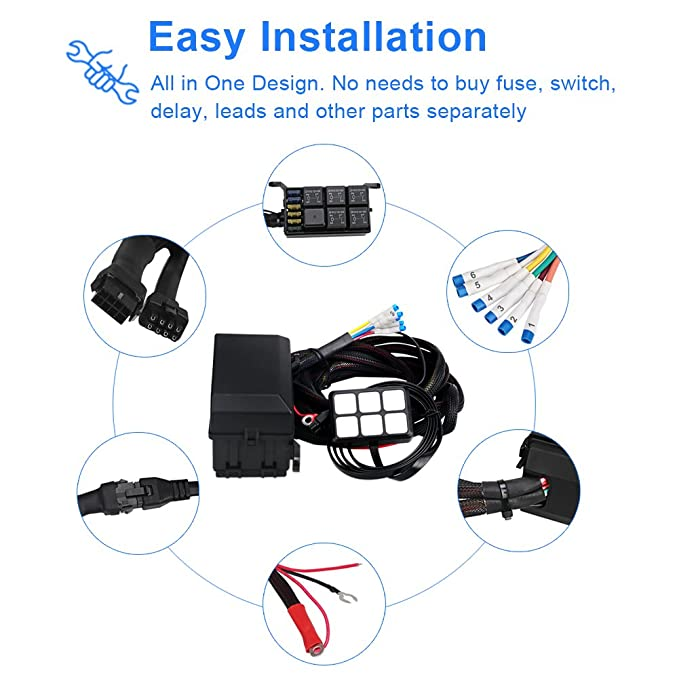 Wayup Universal Circuit Control Box Electronic Relay System Button Switch Fuse Relay Box with Wiring Harness Assemblies for Truck Marine Boat Jeep Car ATV UTV SUV 6 Gang Switch Panel