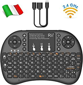 Rii Mini i8+ - Mini Teclado retroiluminado con ratón Touchpad y botón de Encendido/Apagado para Smart TV, TV Box, Amazon Fire TV, Mini PC, Playstation, Xbox, Ordenador: Amazon.es: Electrónica