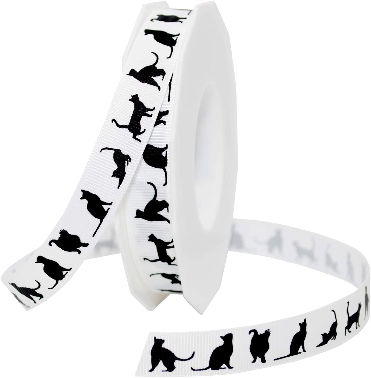 NEW Morex Ribbon Paw Print Satin Spool 7 8 Inch by 20 Yard Black White