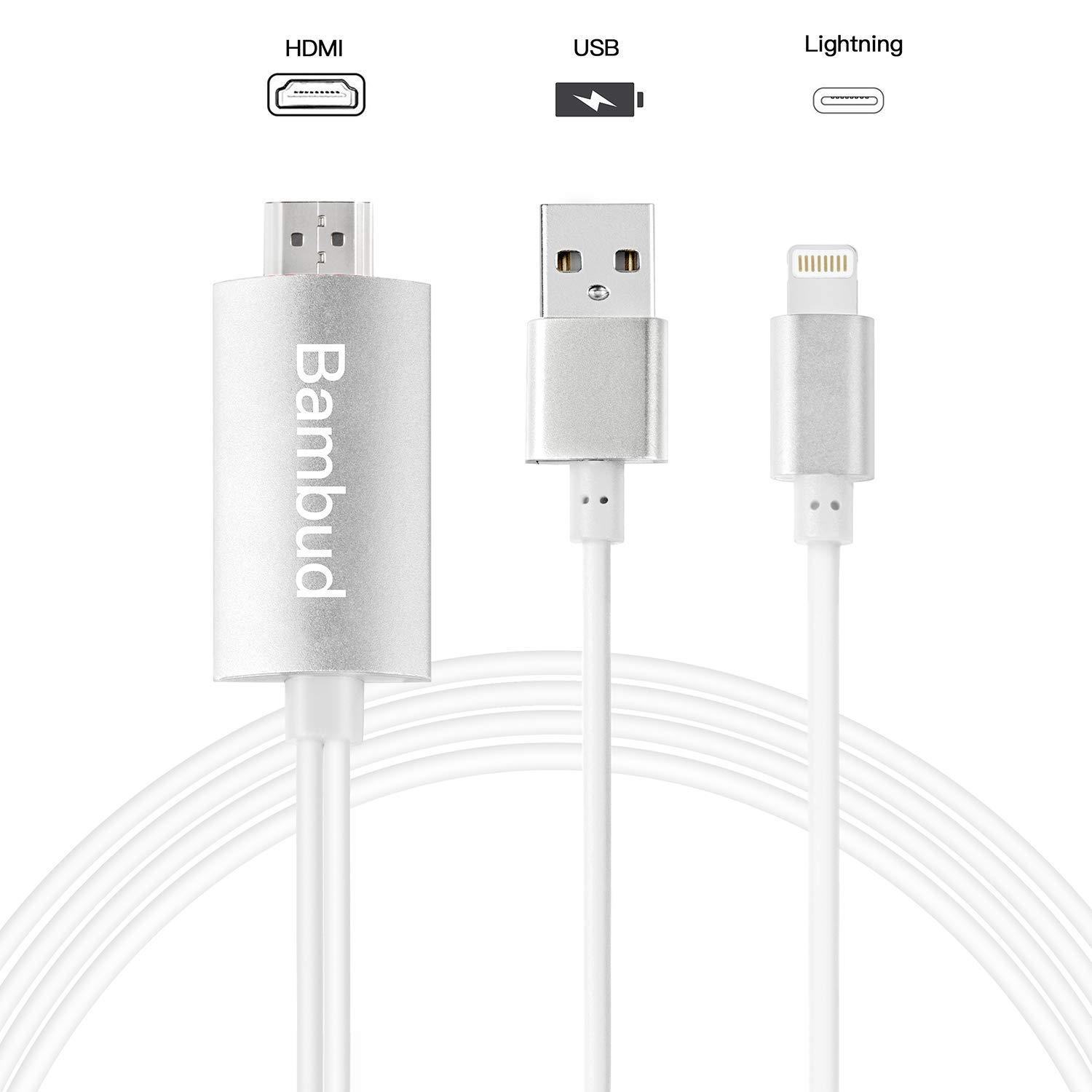 Bambud Compatible with iPhone iPad to HDMI Adapter Cable 6.5ft 6,iPad to TV Projector Monitor Digital AV Adapter 1080p HD TV Connector Cord Compatible with iPhone Xs Max XR R 8 7 6s Plus