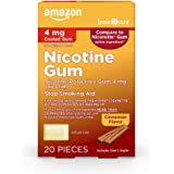 Amazon Basic Care Coated Nicotine Polacrilex Gum, 4 mg (nicotine), Cinnamon Flavor, Stop Smoking Aid, 20 Count