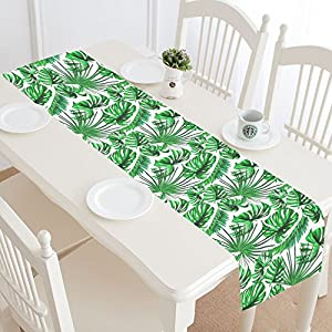 Great InterestPrint Tropical Palm Leaves Table Runner Home Decor 16 X 72 Inch,  Rainforest Green Table Cloth Runner For Wedding Party Banquet Decoration