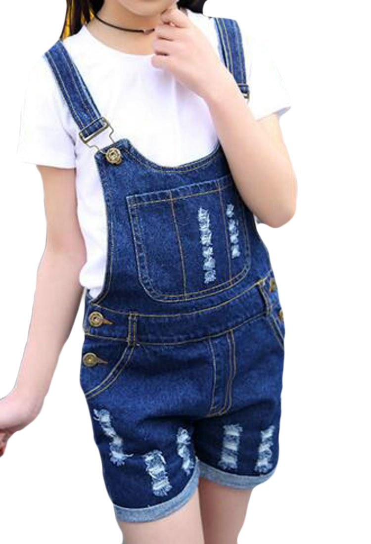 JWK Girl' Fashion Suspender Overalls Bib Ripped Holes Denim Shorts