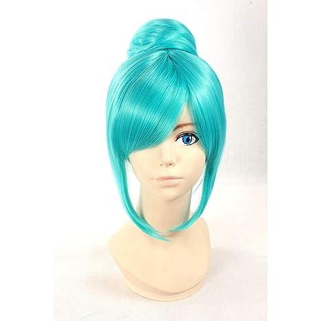 HOOLAZA Peluca recta corta azul Hatsune Miku Project Diva ...
