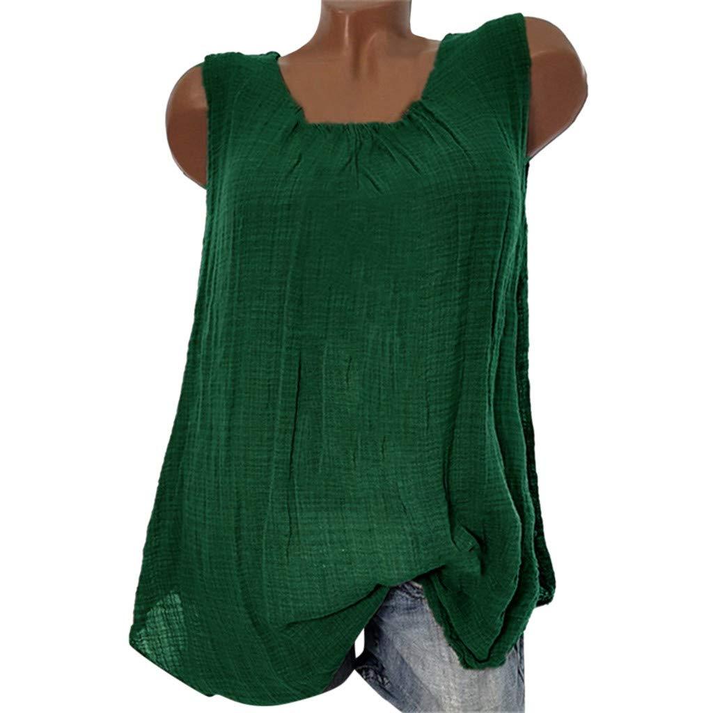 b8954fa47b JOYFEEL 💕 Sale Women's Plus Size Cotton Linen Casual Blouse Loose Sleeveless  Shirt Summer Tank Tops (S-5XL) at Amazon Women's Clothing store: