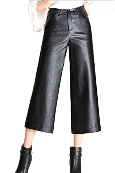 Zilcremo Women Elegant Pu Leather Wide Leg Cropped Pants Capris